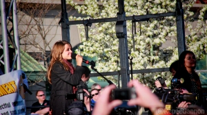 Angie performs for the crowd at Beverly High School.